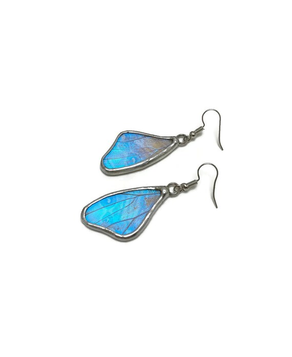 Butterfly earrings, Unique jewelry, butterfly jewelry, real butterfly wing, insect jewelry, Blue Morpho Butterfly, Gifts for her, butterfly