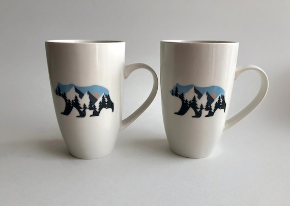 Coffee mug, unique gifts, wilderness gifts, gifts for her, coffee cup, home decor, mountain decor, ceramic mug, bear themed mug, unique art