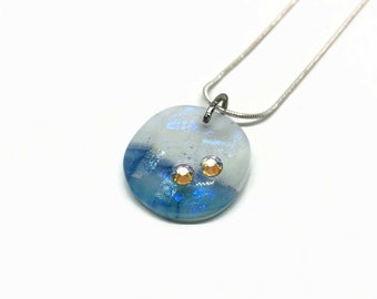 Dichroic Glass pendant, jewelry for mom, crystal jewelry, fused glass necklace
