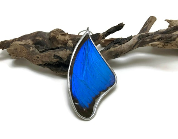 Real Butterfly jewelry, statement jewelry, unique gifts for her, butterfly Wing Necklace, Blue Morpho Pendant, butterfly taxidermy, gifts