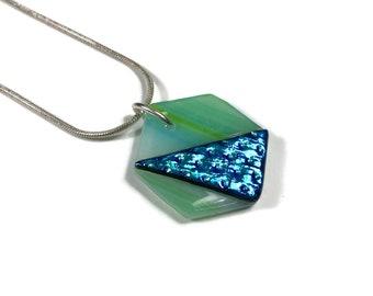 hexagon pendant, green and blue, dichroic glass pendant, fused glass jewelry, sparkle glass pendant, geometric jewelry
