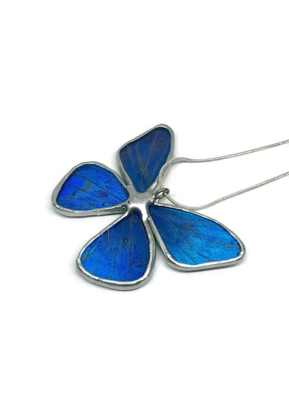 Blue butterfly Pendant, Unique gifts for her, blue morpho, real butterfly wing, stained glass jewelry, butterfly taxidermy jewelry