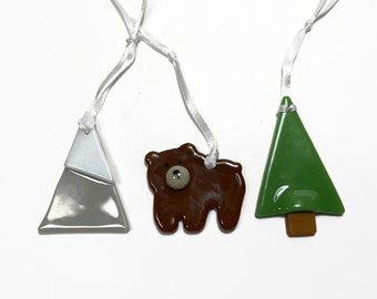 fused glass ornament, bear ornament, unique gifts for mom, glass art, unique art, Christmas decor, tree ornament