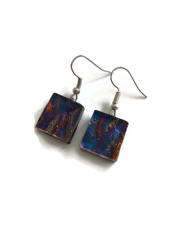 Glass jewelry, jewelry for her, fused glass earrings, unique gifts for mom, glass earrings, dichroic glass earrings, statement earrings