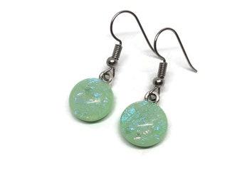 earrings, green glass earrings, statement jewelry, fused glass jewelry, dangle earrings, dichroic glass earrings, hypoallergenic