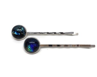 Fused glass hair pins, blue Bobby pins, glass jewelry, hair clips, bridesmaids hair jewelry, Sparkle hair jewelry