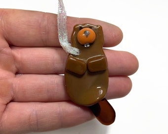 Glass ornament, Beaver ornament, unique gifts for her, fused glass Art, mountain home decor, glass tree ornament, Christmas ornament