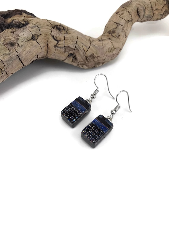 dichroic Glass earrings, dangle earrings, glass earring, drop earrings, fused glass earring, glass jewelry, dichroic glass jewelry, glass
