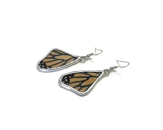 monarch Butterfly, butterfly wing earrings, unique gifts for her, insect jewelry, butterfly taxidermy jewelry, butterfly lover