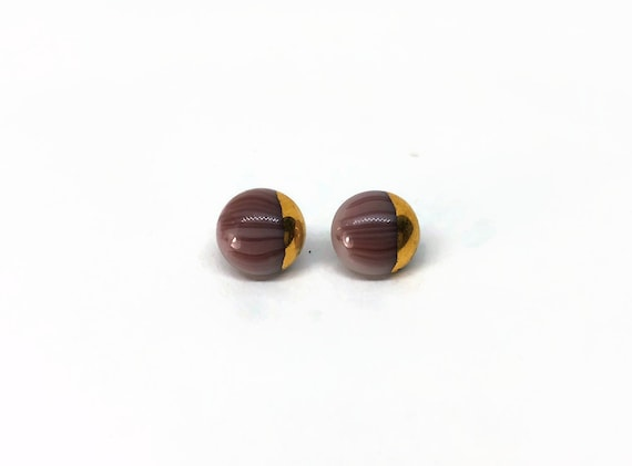 Glass gold and purple minimalist studs, Unique gifts for her, fused glass statement jewelry