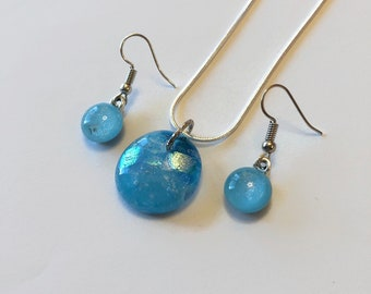 blue Jewelry set, fused glass jewelry, best friend gifts, jewelry for her, statement jewelry, dichroic glass pendant
