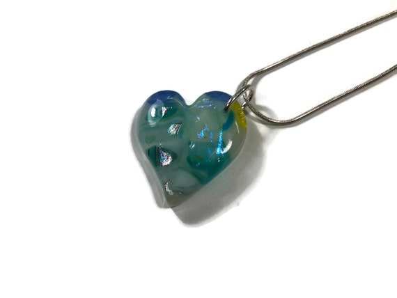 Glass necklace, Gifts for mom, Heart necklace, Dichroic Glass Pendant, Fused Glass Jewelry, Dichroic glass Necklace, Glass jewelry, gifts