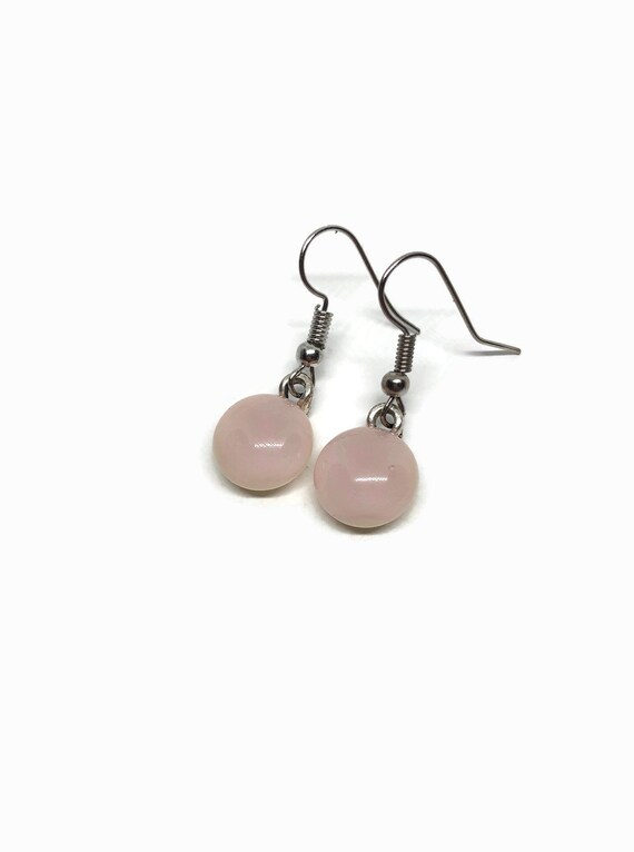 Pink glass dangle earrings, fused glass jewelry, unique gifts for mom