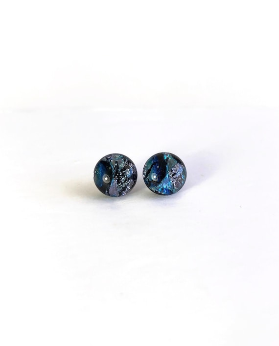 Fused Glass earrings, minimalist earrings, stud earrings, Unique gifts, glass earrings, glass studs, dichroic glass studs, fused glass studs