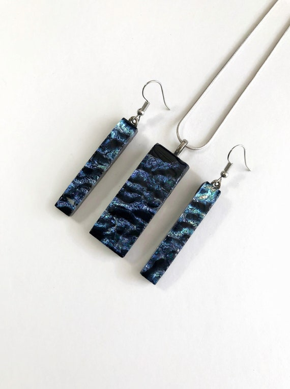 Dichroic glass jewelry, Unique gifts for her, fused glass earrings, Statement jewelry, dichroic glass pendant, gifts for mom, glass jewelry