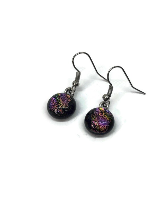 Dichroic glass jewelry, fused glass jewelry, gifts for her, dichroic glass earrings, fused glass earrings, bridal jewelry, Glass earrings