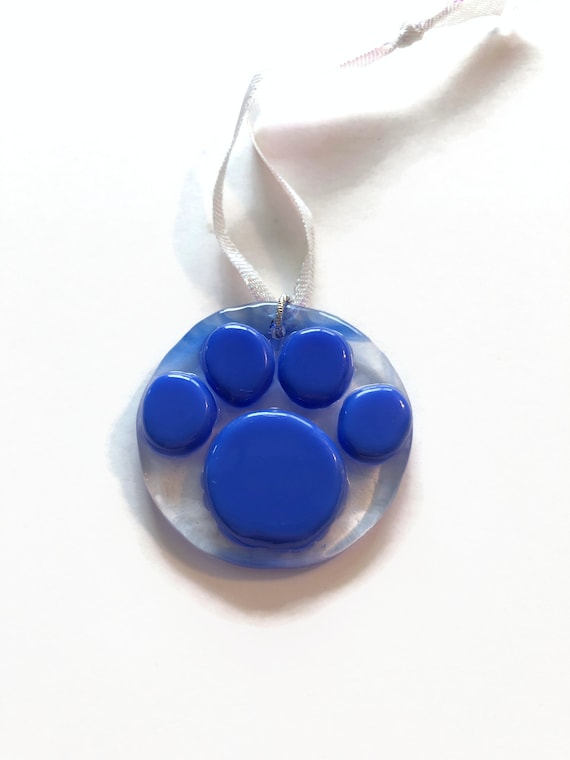 Fused Glass paw print suncatcher ornament, Unique gifts for her, paw print home decor, animal lover gifts