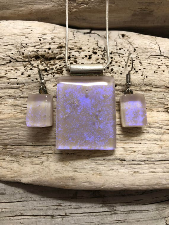 Glass Jewelry, Dichroic glass pendant and earring set, dichroic glass jewelry, dichroic glass, fused glass jewelry, fused glass, glass