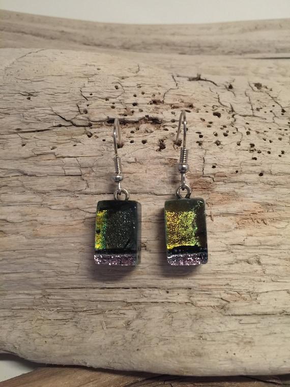 Dichroic glass jewelry, statement jewelry, fused glass jewelry, fused glass earrings, dichroic glass earrings, glass jewelry, glass earrings