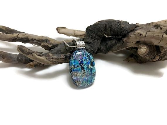 Glass Jewelry, Dichroic glass pendant, glass necklace, Glass Pendant, Fused Glass Jewelry, dichroic glass jewelry, fused glass pendant