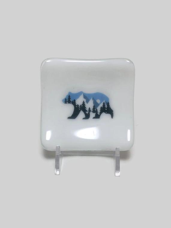 Fused glass plate, bear plate, handmade fused glass dish, glass dish, ring dish, tea bag dish, candy dish, decorative dish, fused glass art