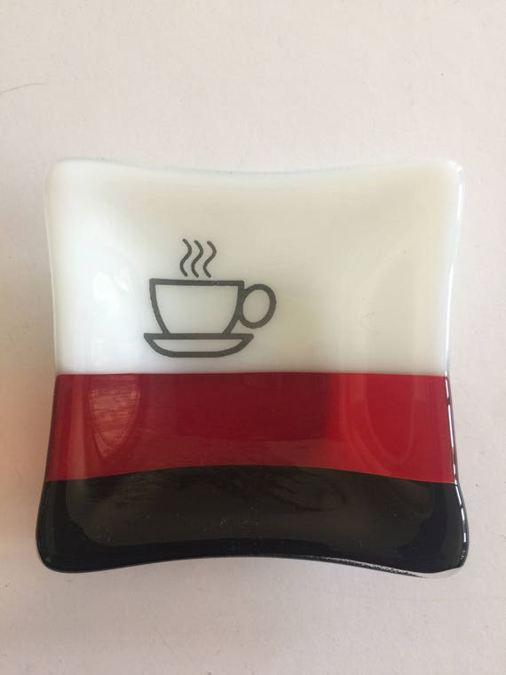 Glass plate, Unique gifts for her, Fused glass dish, unique gifts, tea bag dish, candy dish, decorative dish, fused glass plate, spoon rest