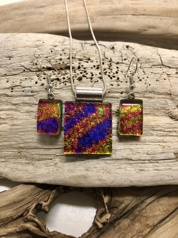 Dichroic glass jewelry, Dichroic glass pendant, fused glass jewelry, fused glass earrings, glass jewelry, Dichroic glass necklace, glass
