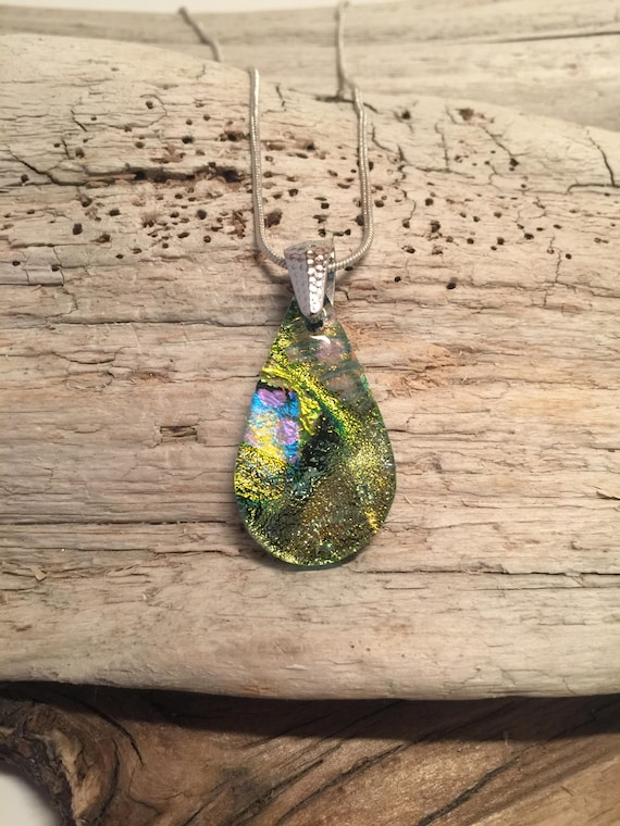 Glass Jewelry, unique jewelry, glass pendant, Gifts for mom, dichroic glass necklace, Unique gifts, fused Glass Jewelry, glass Necklace