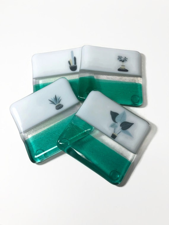 Fused Glass Art, plant drink coasters, unique gifts for her, plant home decor, Best friend gifts, plant lover