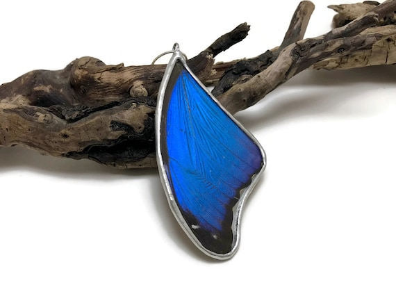 Real butterfly, real butterfly jewelry, handmade butterfly jewelry, real butterfly pendant,Real Butterfly Wing Necklace, Blue Morpho Pendant