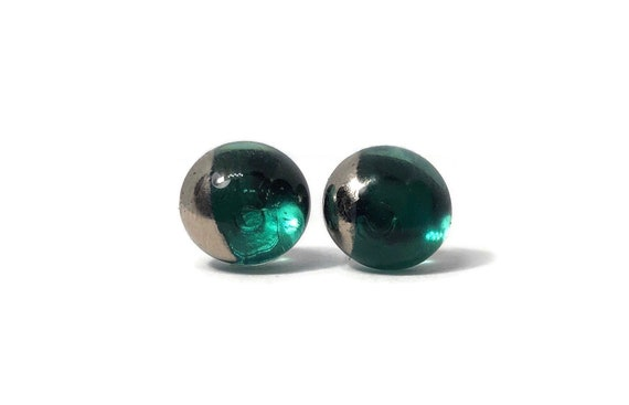 Green and silver Glass studs, Fused glass jewelry, unique gifts for her, minimalist earrings