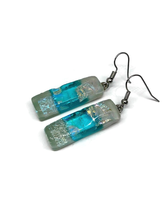 Dichroic Glass dangle earrings fused glass jewelry, unique gifts for her