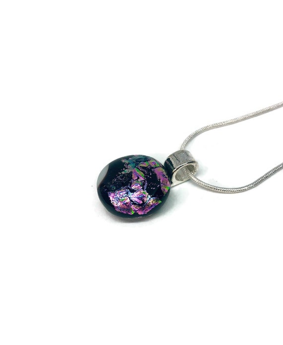 Dichroic glass jewelry, unique jewelry, fused glass necklace, unique gifts for mom, glass pendant, gifts for her, glass necklace, gifts