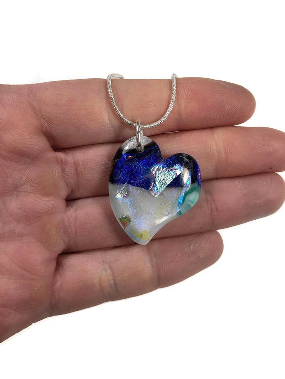 Handcrafted Fused Glass heart necklace, unique gifts for mom, Dichroic glass pendant
