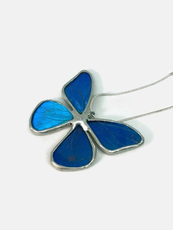 Recycled butterfly wing pendant, unique gifts for her, Morpho butterfly, insect Necklace