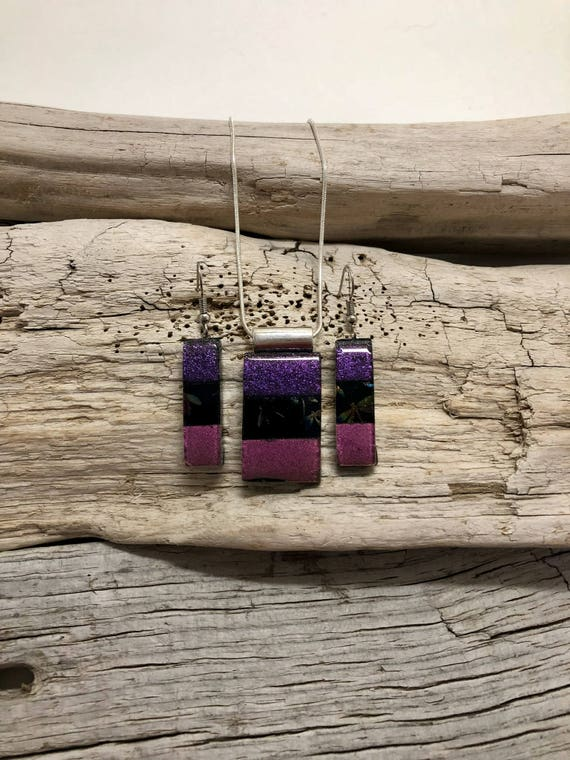 Glass jewelry, Dichroic glass pendant, glass earring, dichroic glass jewelry, glass pendant, fused glass jewelry, glass jewelry, glass