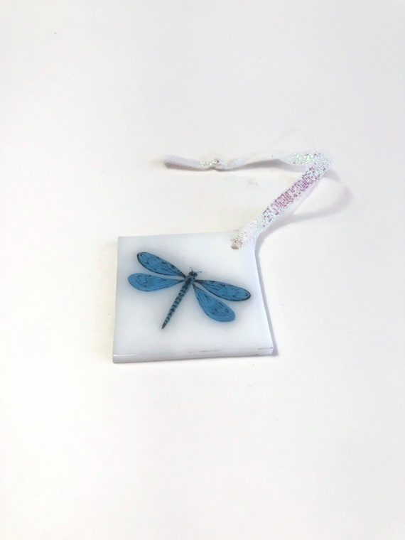 Dragonfly ornament, unique gifts for her, glass ornament, fused glass decoration, Christmas decoration, tree ornament, Christmas ornament