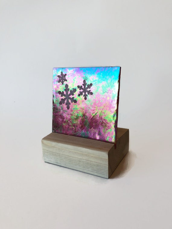 Christmas candle holder, unique art, Christmas decor, gifts for him, Fused Glass art, unique art, glass home decor, unique gifts for mom