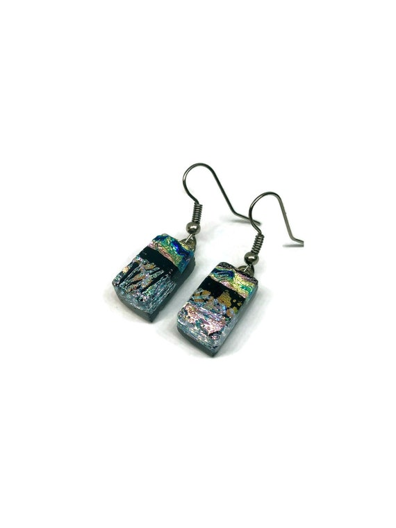 Fused glass earrings, unique jewelry, glass jewelry, unique gifts for her, dichroic glass jewelry, statement jewelry, glass earrings