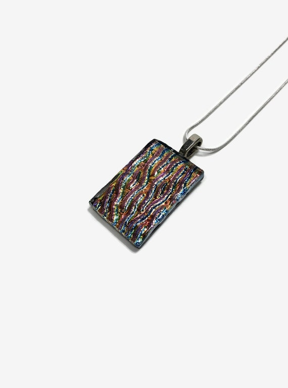 Fused glass jewelry, gifts for her, glass necklace, Unique jewelry, statement jewelry, Dichroic Glass Pendant, glass necklace, unique gifts