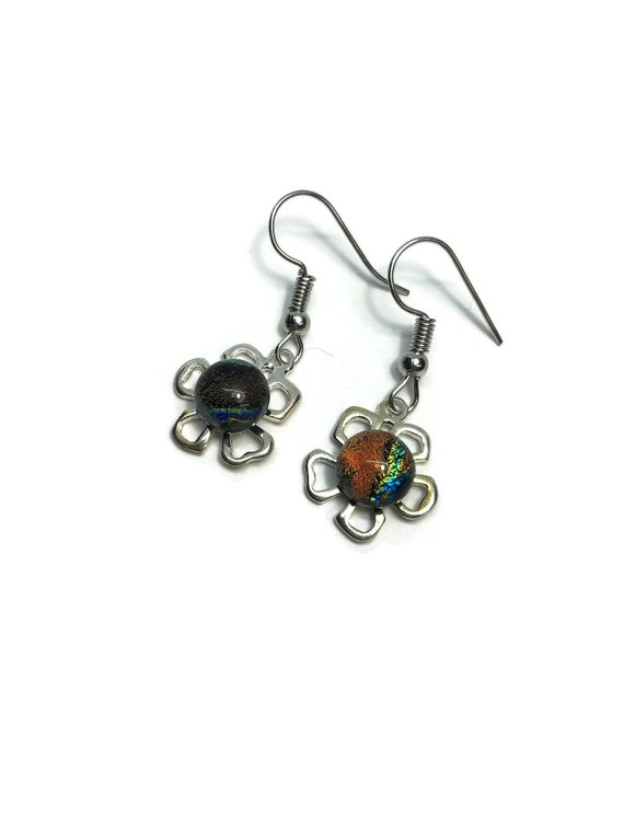 Daisy earrings, Fused Glass jewelry, Unique gifts for mom, dichroic glass earrings, minimalist earrings