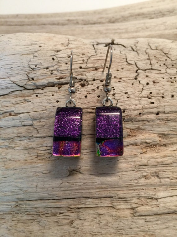 Glass Jewelry, Dichroic glass earrings, dichroic glass jewelry, fused glass earrings, Glass earrings, fused glass jewelry, unique gifts