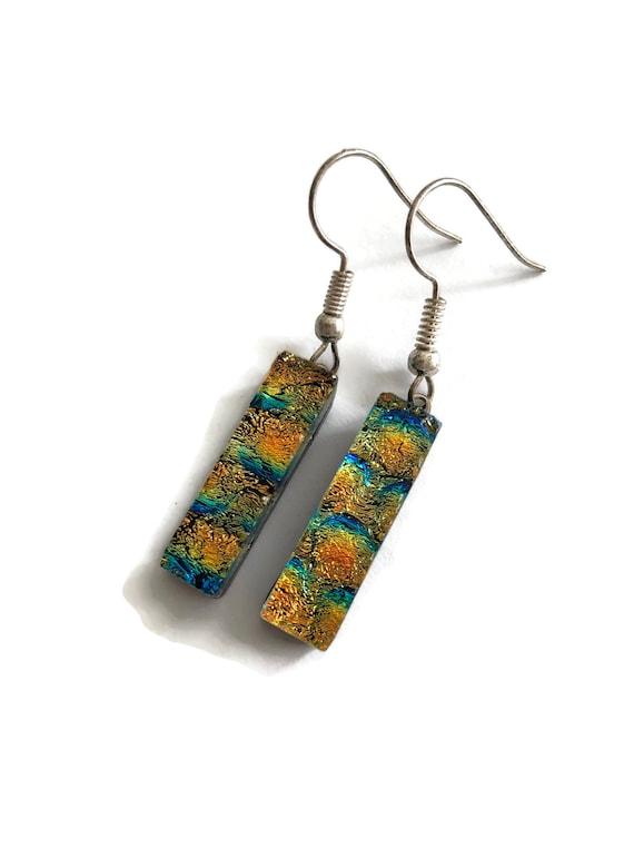 fused glass earrings, statement jewelry, dichroic glass earrings, fused glass jewelry, dichroic glass jewelry, Glass earrings, glass Jewelry