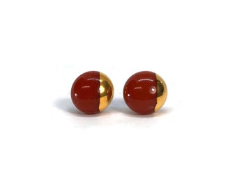 Fused glass earrings, red and gold studs, glass jewelry, minimalist earrings, Hypoallergenic, geometric studs, button earrings