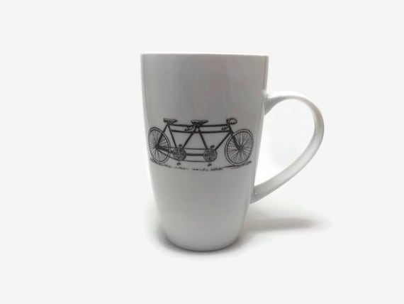 Bike mug, unique gifts for him, coffee mug, unique art, bike home decor, ceramic mug, bike themed mug, unique gifts, home decor, tea mug