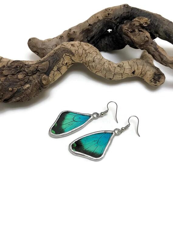 Real butterfly wing jewelry, handmade butterfly jewelry, insect jewelry, real butterfly art, Real Butterfly Wing Earrings, butterfly Earing