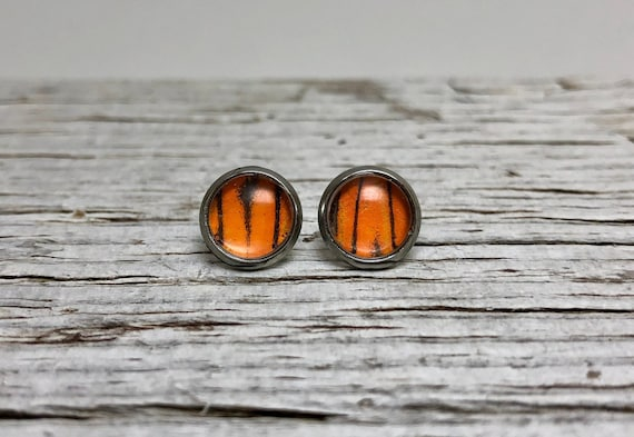 Recycled orange butterfly wing stud jewelry, unique jewelry for mom, butterfly gifts, butterfly taxidermy