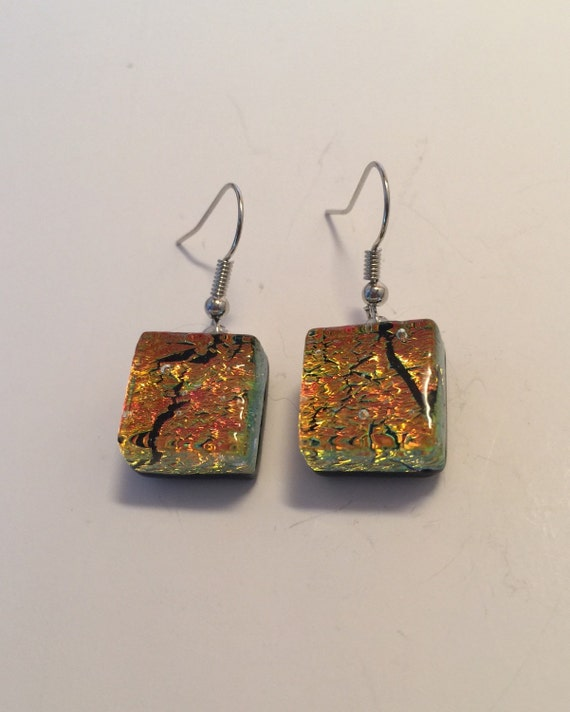 Fused glass Earrings, jewelry for her, unique gifts for mom, Dichroic glass earrings, unique gifts, Glass earrings, glass jewelry, gifts