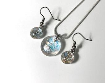 Glass Jewelry set, rainbow jewelry, fused glass jewelry, gifts for mom, dichroic glass jewelry