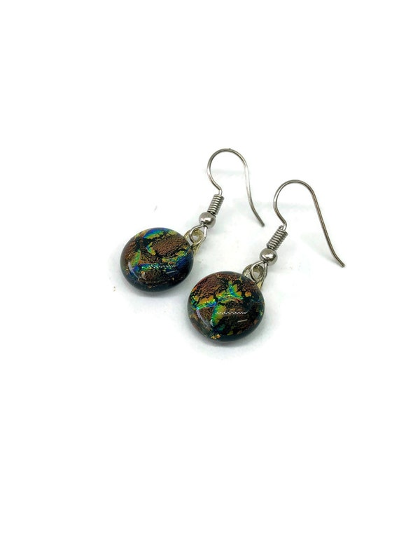 Fused Glass jewelry, unique gifts for her, glass jewelry, fused glass earrings, glass earrings, dichroic glass earrings, unique jewelry